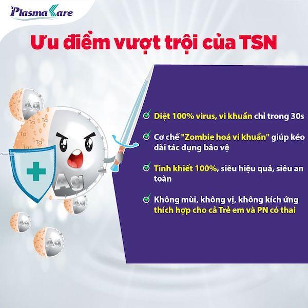 Súc họng miệng PlasmaKare dạng túi chứa phức hệ TSN 1